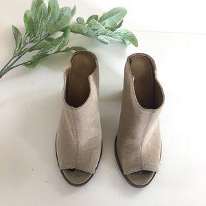 Restricted Peep Toe Suede Leather Bootie Heels
